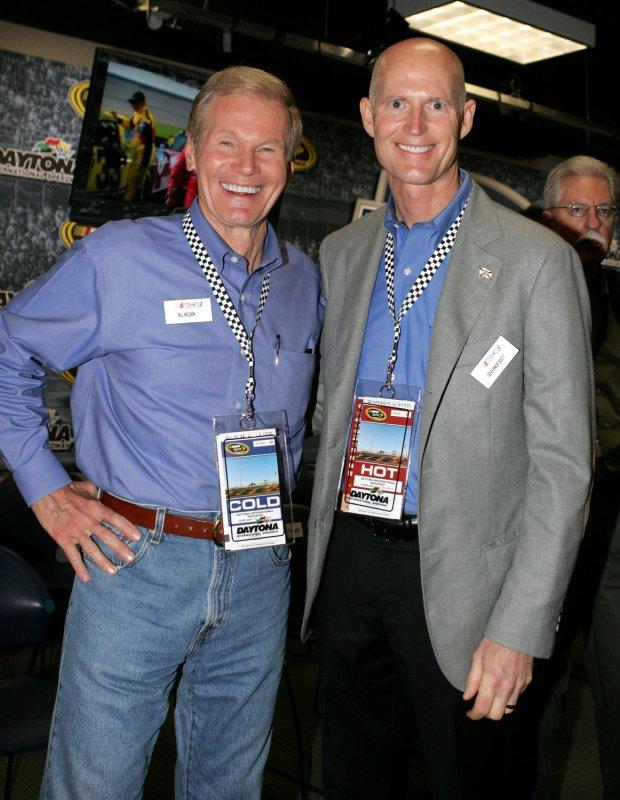 Florida Senator Bill Nelson (L) and Florida Governor Rick Scott attend the drivers meeting prior to the Daytona 500 at Daytona International Speedway in Daytona Beach, Florida on February 20, 2011. UPI Photo/Martin Fried