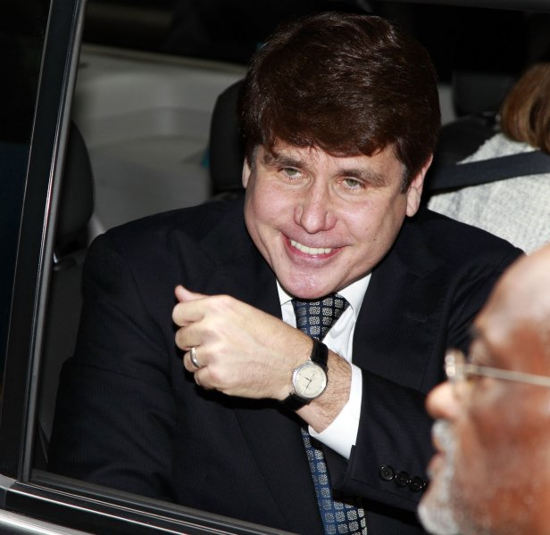 Former Illinois Gov. Rod Blagojevich leaves the federal court after hearing the verdict in his corruption trial on June 27, 2011 in Chicago. A federal jury found Blagojevich guilty on 17 of 20 charges Monday, including trying to peddle President Obama's vacant Senate seat. UPI/Kamil Krzaczynski