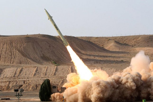 An upgraded version of the short-range surface-to-surface Fateh-110 missile is test fired in 2010 in this photo released by the Iranian Defense Ministry. On March 8, 2015 -- amid negotiations with the West over its nuclear program -- Iran unveiled the Soumar, a land-based cruise missile system capable of hitting precision targets 1,500 miles away. File Photo by Vahid Reza Alaei/Iranian Defense Ministry/UPI