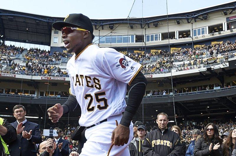 Pittsburgh Pirates right fielder Gregory Polanco (25). Photo by Shelley Lipton/UPI