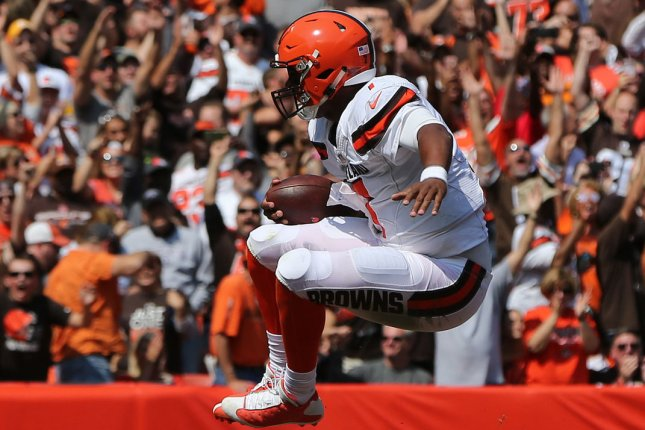 Cleveland Browns DeShone Kizer jumps in the air to celebrate a first quarter touchdown run against the Pittsburgh Steelers at First Energy Stadium in Cleveland, Ohio September 10, 2017. File photo by Aaron Josefczyk/UPI