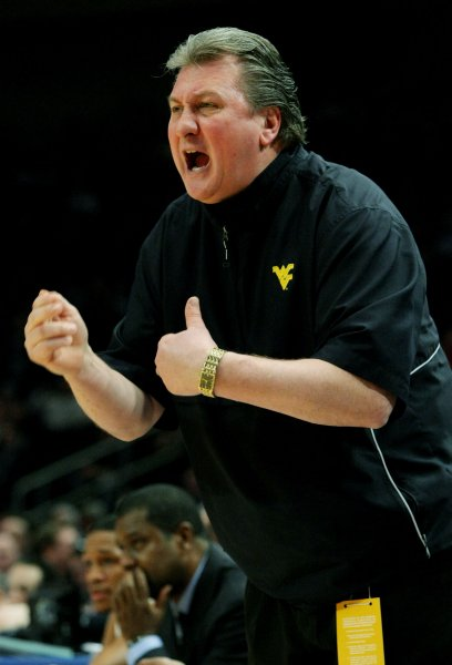 Coach Bobn Huggins and West Virginia square off with Marshall in the second round of the NCAA tournament Sunday. File photo by Monika Graff/UPI