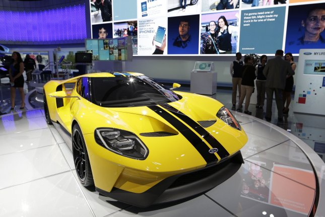 A 2017 Ford GT is seen at the New York International Auto Show on March 23, 2016. Wednesday, Ford recalled nearly 200 of the supercars in the United States and Canada. File Photo by John Angelillo/UPI