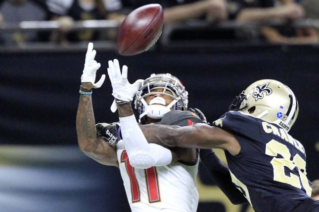 Tampa Bay Buccaneers receiver DeSean Jackson (L) is under contract for another year, but he's already thinking about where he wants to go. Photo by AJ Sisco/UPI
