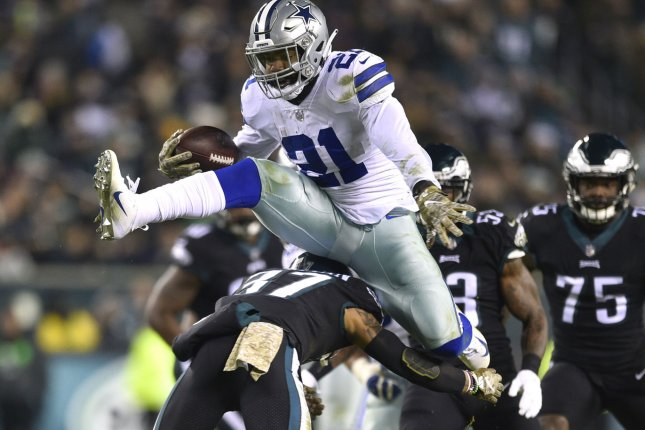 Dallas Cowboys running back Ezekiel Elliott (21) led the NFL in rushing from the second time in his three-year career in 2018, running for 1,434 yards on 304 carries. File Photo by Derik Hamilton/UPI