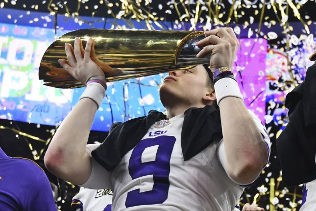 Former LSU quarterback Joe Burrow was selected with the No. 1 overall pick in the 2020 NFL Draft. File Photo by Pat Benic/UPI