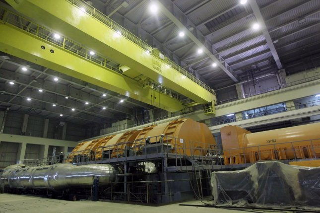 An interior view of the Bushehr nuclear power plant is shown on October 26, 2010 as Iran began to load fuel into the core of its first atomic power plant some 745 miles south of Tehran. The Russian-built power plant is supervised by the United Nation's nuclear agency. UPI/Mehr News Agency/Majid Asgarpour