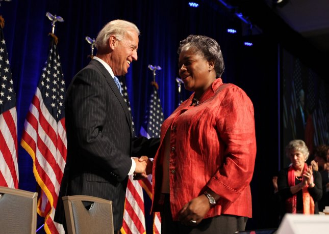 Vice President Joe Biden greets Donna Brazile, co-chairman of the Democratic National Committee before speaking at the DNC summer meeting in St. Louis on August 20, 2010. St. Louis is in the running for the 2012 Democratic Presidential Convention. UPI/Bill Greenblatt
