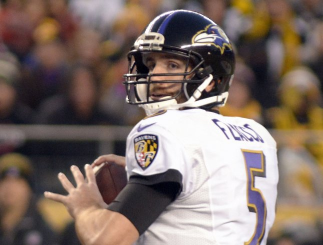 Baltimore Ravens quarterback Joe Flacco steps back to pass in a game against the Pittsburgh Steelers last season. Photo by Archie Carpenter/UPI