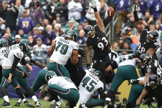 Former Philadelphia Eagles kicker Caleb Sturgis (6) missed three kicks on Sunday in the Los Angeles Chargers win against the Seattle Seahawks. File photo by David Tulis/UPI