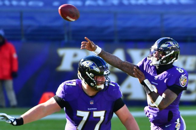 Baltimore Ravens quarterback Lamar Jackson (8) recorded 136 yards and one score on the ground against the Tennessee Titans. File Photo by David Tulis/UPI