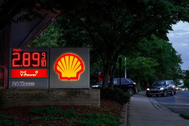 Drivers line up at a Shell gas station in Arlington, Va., last Thursday to buy fuel amid gasoline shortages created by a disruption of the Colonial Pipeline. Photo by Jemal Countess/UPI