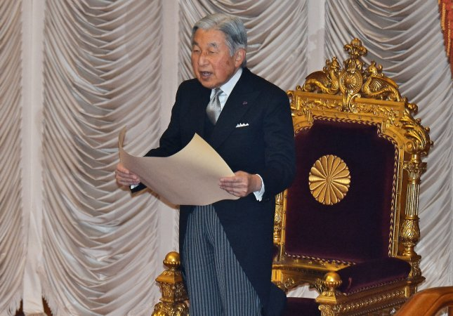 Japan's Emperor Akihito gave a televised national speech on Monday, implying he wished to abdicate. Here, Akihito officially declares the opening of the 190th Ordinary Diet session in Tokyo, Japan, on January 4. Photo by Keizo Mori/UPI
