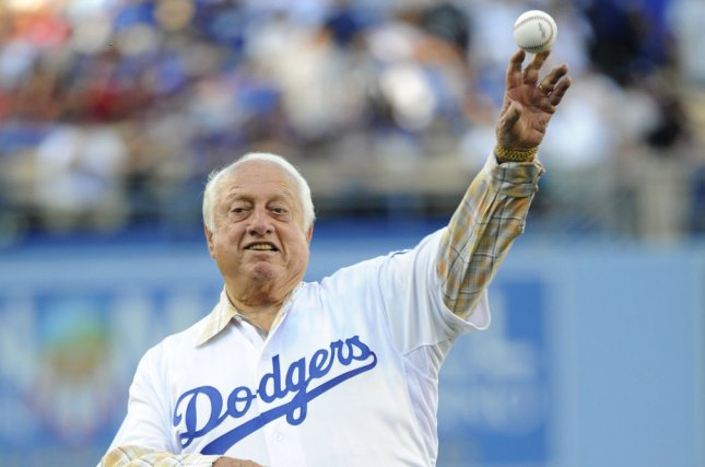 Former Los Angeles Dodgers manager Tommy Lasorda throws out the ceremonial first pitch before Game 4 of the National League Championship Series with the Los Angeles Dodgers and St. Louis Cardinals at Dodger Stadium in Los Angeles. File photo by Lori Shepler/UPI