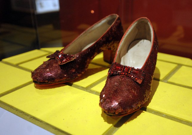 A pair of slippers, like the ones pictured above, worn by actress Judy Garland in the 1939 film The Wizard of Oz were recovered by the FBI after being stolen from the Judy Garland Museum in Minnesota. File Photo by Roger L. Wollenberg/UPI