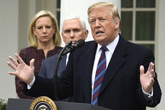 President Donald Trump makes remarks to the press after a meeting with the Democratic leadership on the government shutdown Friday in the Rose Garden of the White House. Photo by Mike Theiler/UPI