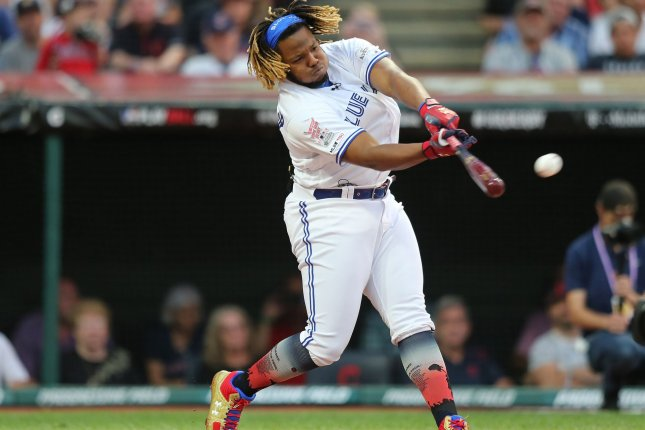 Toronto Blue Jays rookie Vladimir Guerrero Jr. has 13 home runs in 79 games this season. New York Mets first baseman Pete Alonso leads all rookies with 34 homers in 2019, but has played in 107 games. File Photo by Aaron Josefczyk/UPI