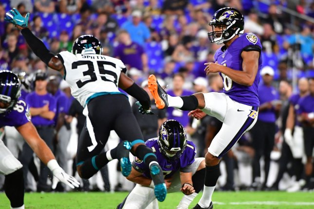 Baltimore Ravens kicker Kaare Vedvik (6) kicks a 29-yard field goal against the Jacksonville Jaguars during the fourth quarter of an NFL preseason game Thursday at M&T Bank Stadium in Baltimore, Maryland. Vedvik kicked four field goals during the 29-0 Baltimore win. Photo by David Tulis/UPI