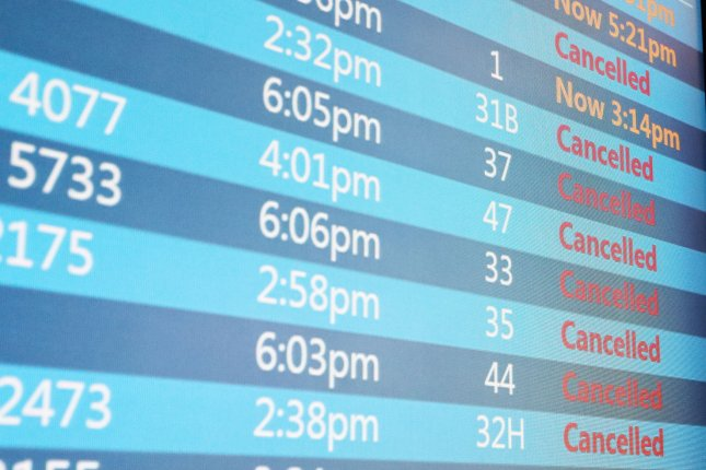 The total number of U.S. flight cancellations this week due to Hurricane Dorian are now up around 4,000. File Photo by John Angelillo/UPI