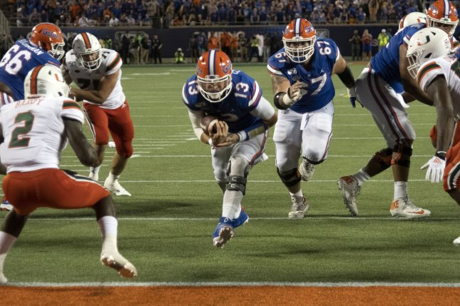Florida Gators quarterback Feleipe Franks (13) suffered a significant ankle injury against the Kentucky Wildcats on Saturday. File Photo by Joe Marino-Bill Cantrell/UPI