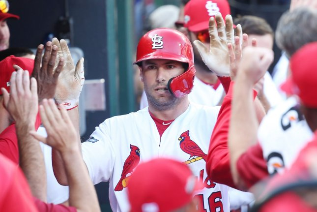 St. Louis Cardinals first baseman Paul Goldschmidt was 2-for-5 with a run scored against the Atlanta Braves on Wednesday. File Photo by Bill Greenblatt/UPI