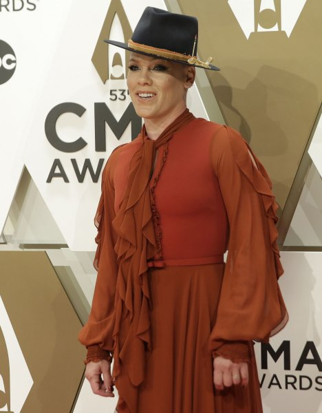 Pink said Saturday she has fractured her ankle. File Photo by John Angelillo/UPI