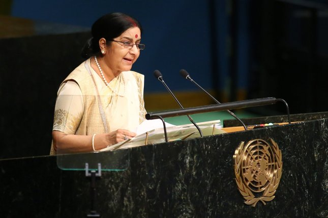 On Sunday, India's External Affairs Minister Sushma Swaraj, pictured at the United Nations General Assembly in New York City last year, promised a comprehensive search and rescue mission for captured Indian priest Tom Uzhunnalil. Photo by Monika Graff/UPI