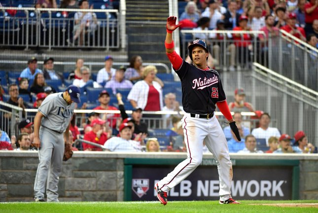 Juan Soto and the Washington Nationals take on the Toronto Blue Jays on Friday. Photo by Kevin Dietsch/UPI