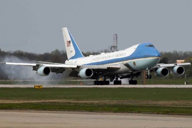 Air Force One, pictured at Joint Base Andrews, Maryland, in April 2018, is among the command-and-control aircraft in the U.S. fleet that uses photonic shielding to prevent flash blindness among aircrew. Photo by Olivier Douliery/UPI