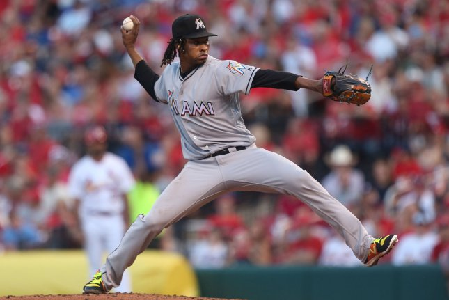 Miami Marlins starting pitcher Jose Urena delivers a pitch to the St. Louis Cardinals in the second inning on June 5 at Busch Stadium in St. Louis. Photo by Bill Greenblatt/UPI