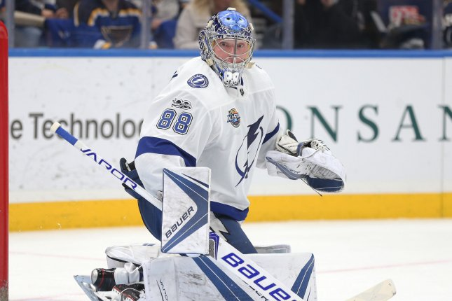 Tampa Bay Lightning goatender Andrei Vasilevskiy had a season-high 48 saves in a win against the Toronto Maples Leafs on Thursday in Tampa. Photo by Bill Greenblatt/UPI