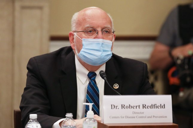 Centers for Disease Control and Prevention Director Robert Redfield testifies during a Labor, Health and Human Services, Education and Related Agencies subcommittee holds a hearing Thursday. The CDC predicted Thursday that U.S. deaths from the coronavirus could reach 143,000 by June 27. Photo by Tasos Katopodis/UPI