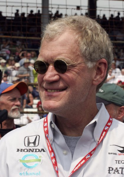 Talk show host David Letterman visits the pit area before the start of the 91st running of the Indianapolis 500 on May 27, 2006 in Indianapolis. (UPI Photo/Mike Bryand)