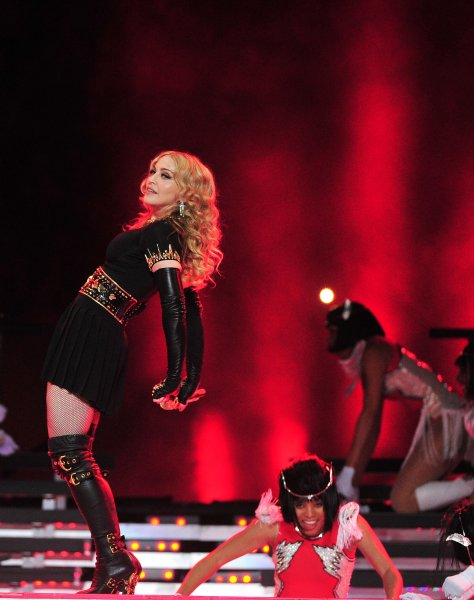 Madonna performs during halftime at Super Bowl XLVI at Lucas Oil Stadium on February 5, 2012 in Indianapolis. UPI/Kevin Dietsch