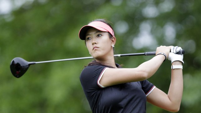 Michelle Wie hits a tee shot on the sixth hole in the final round of the Wegmans LPGA Championship at Locust Hill Country Club in Rochester, New York on June 26, 2011. UPI/John Angelillo