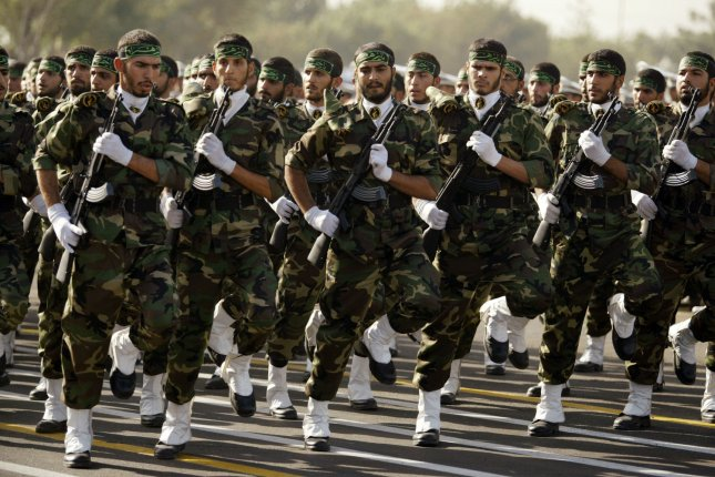 Iranian Islamic Revolution's Guard Corps, or IRGC, unveiled its newest aerial drone during military drills on Tuesday. Pictured, IRGC soldiers march during a parade marking the 28th anniversary of the outset of the Iran-Iraq war (1980-1988) outside Tehran, Iran on September 21, 2008. File photo by Mohammad Kheirkhah/UPI