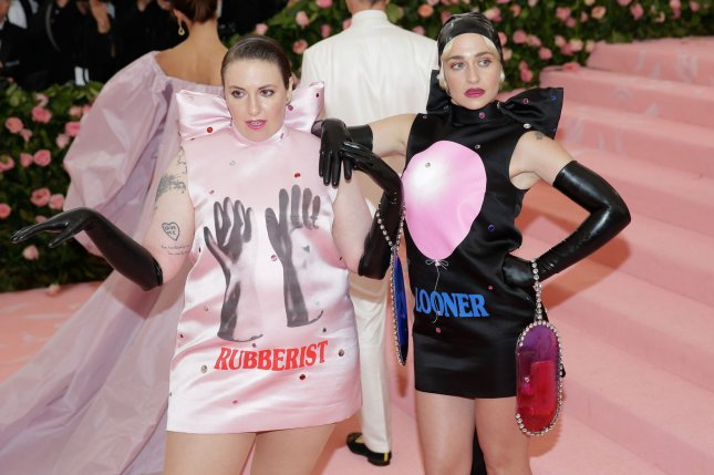 Lena Dunham (L) and Jemima Kirke. Dunham appeared on Late Night and discussed her new podcast along with how she met Jared Leto at the Met Gala. Photo by John Angelillo/UPI