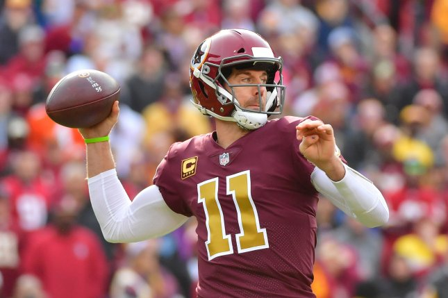 Washington Redskins quarterback Alex Smith owns a 94-66-1 record as a starter in 14 NFL seasons. He joined the Washington Redskins during a 2018 trade from the Kansas City Chiefs. File Photo by Kevin Dietsch/UPI