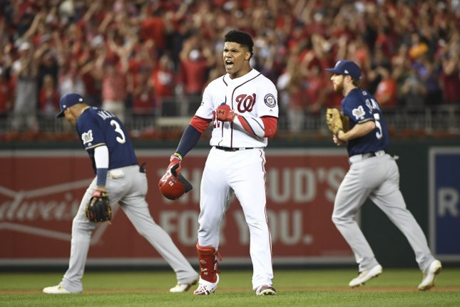 Washington Nationals outfielder Juan Soto went 1 for 4 with two RBIs in a National League wild card win against the Milwaukee Brewers Tuesday in Washington, D.C. Photo by Kevin Dietsch/UPI