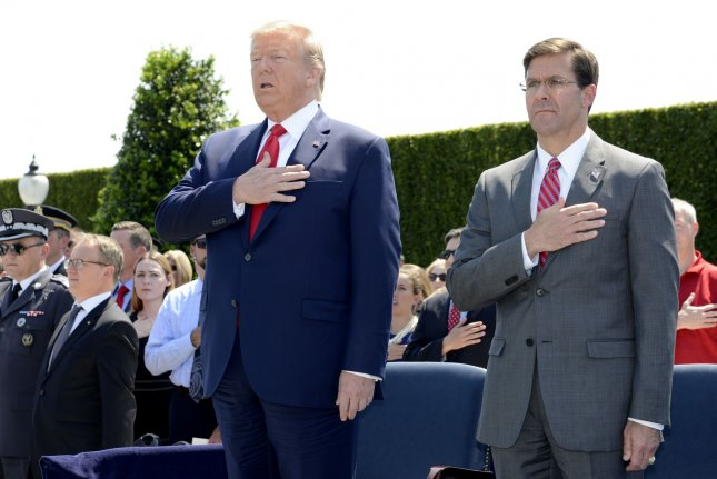 U.S. Defense Secretary Mark Esper said Sunday that the United States deployed thousands of American troops to the Middle East because it believed Iran was targeting four U.S. embassies. File Photo by Mike Theiler/UPI
