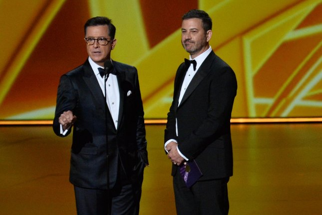 Stephen Colbert and Jimmy Kimmel are to co-host the musical and comedy event One World: Together at Home on April 18. File Photo by Jim Ruymen/UPI