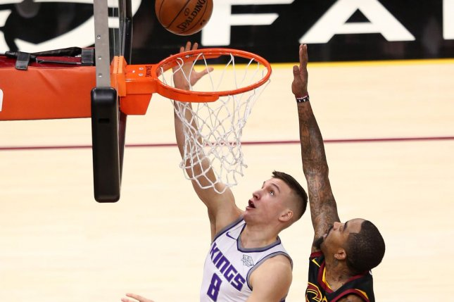 Former Sacramento Kings guard Bogdan Bogdanovic (L) will join Trae Young and the Atlanta Hawks for the 2020-2021 season. File Photo by Aaron Josefczyk/UPI