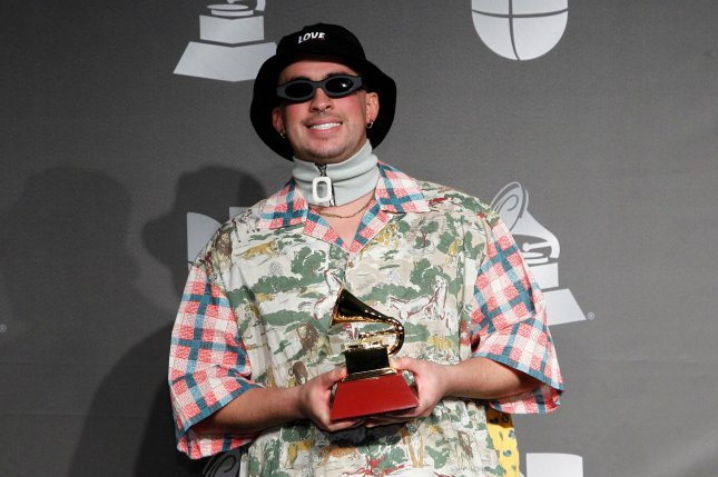 Bad Bunny will star with Brad Pitt, Joey King and Aaron Taylor Johnson in Bullet Train, a new film based on the novel Maria Beetle. File Photo by James Atoa/UPI