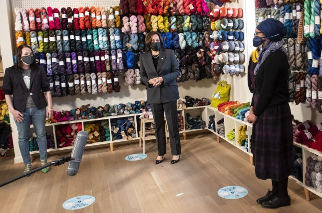Vice President Kamala Harris speaks on Wednesday during a visit to Fiber Space, a woman-owned boutique yarn and fabric store, in Alexandria, Va., for a small business roundtable. Harris explained that President Joe Biden's American Rescue Plan will help reopen schools and provide financial aid amid the COVID-19 pandemic. Photo by Kevin Dietsch/UPI