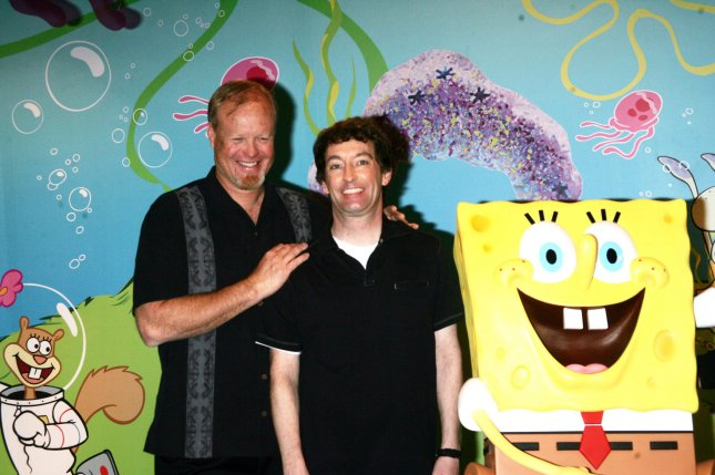 Bill Fagerbakke (L) -- seen here with Tom Kenny -- will reprise his SpongeBob SquarePants voice role of Patrick Star in a new animated series for Nickelodeon. File Photo by Laura Cavanaugh/UPI