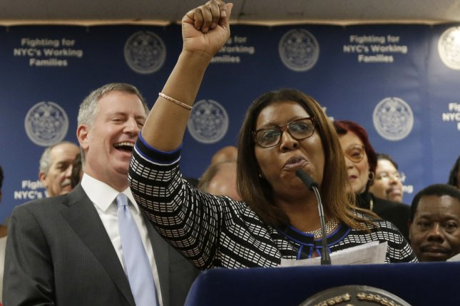 New York Attorney General Letitia James (R) said Saturday she has reached a $230 million settlement with Johnson & Johnson to address the state's opioid crisis. File Photo by John Angelillo/UPI
