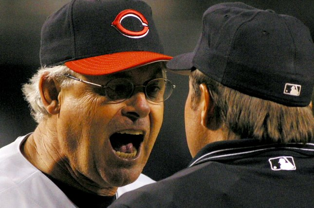 Bob Boone, the Cincinnati Reds' manager from 2001 to 2003, joined the Washington Nationals staff in 2005, but resigned this week because he refused to comply with the team's COVID-19 vaccination mandate. File Photo by Will Powers/UPI