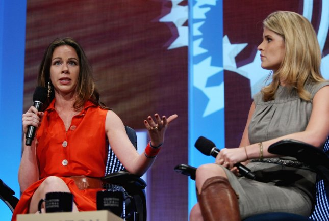 Barbara Bush(L), daughter of former President George Bush, speaks as her sister Jenna listens during the Harnessing Human Potential meeting at the sixth annual meeting of the Clinton Global Initiative on September 22, 2010 in New York. UPI /Monika Graff