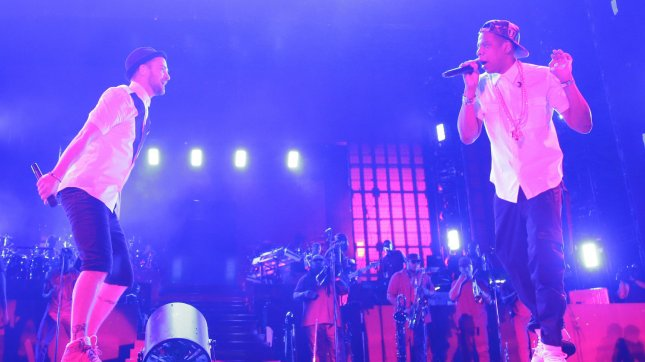 Jay-Z and Justin Timberlake perform at Yankee Stadium in New York City on July 19, 2013. UPI/John Angelillo