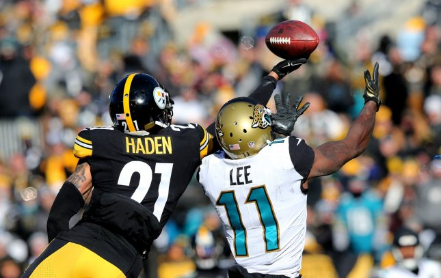 Pittsburgh Steelers cornerback Joe Haden breaks up a pass intended during a game against the Jacksonville Jaguars in the AFC playoffs on January 14, 2018. Photo by Aaron Josefczyk/UPI